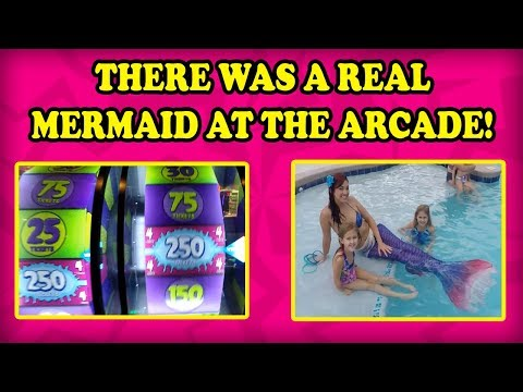 Mermaid at the ARCADE! Can she defeat E-Claw Machines? JACKPOTS and BIG WINS in this arcade video!