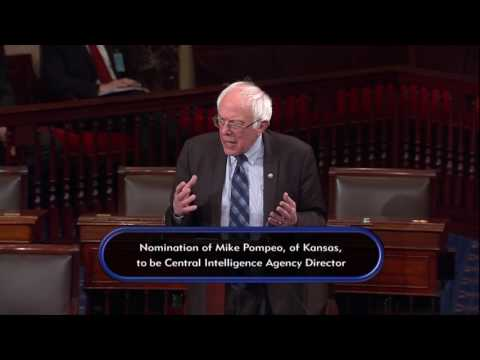 Sanders Speaks on the Nomination of Mike Pompeo for CIA Director