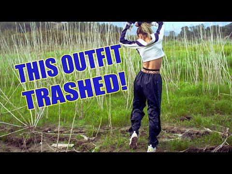 Fashionable girl ruins her Adidas tear-away pants in mud | Trash Puma Sneakers | Muddy girl | WAM
