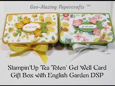 Stampin\u0027Up Tea Toten\u0027 Get Well Card Gift Box with English Garden DSP