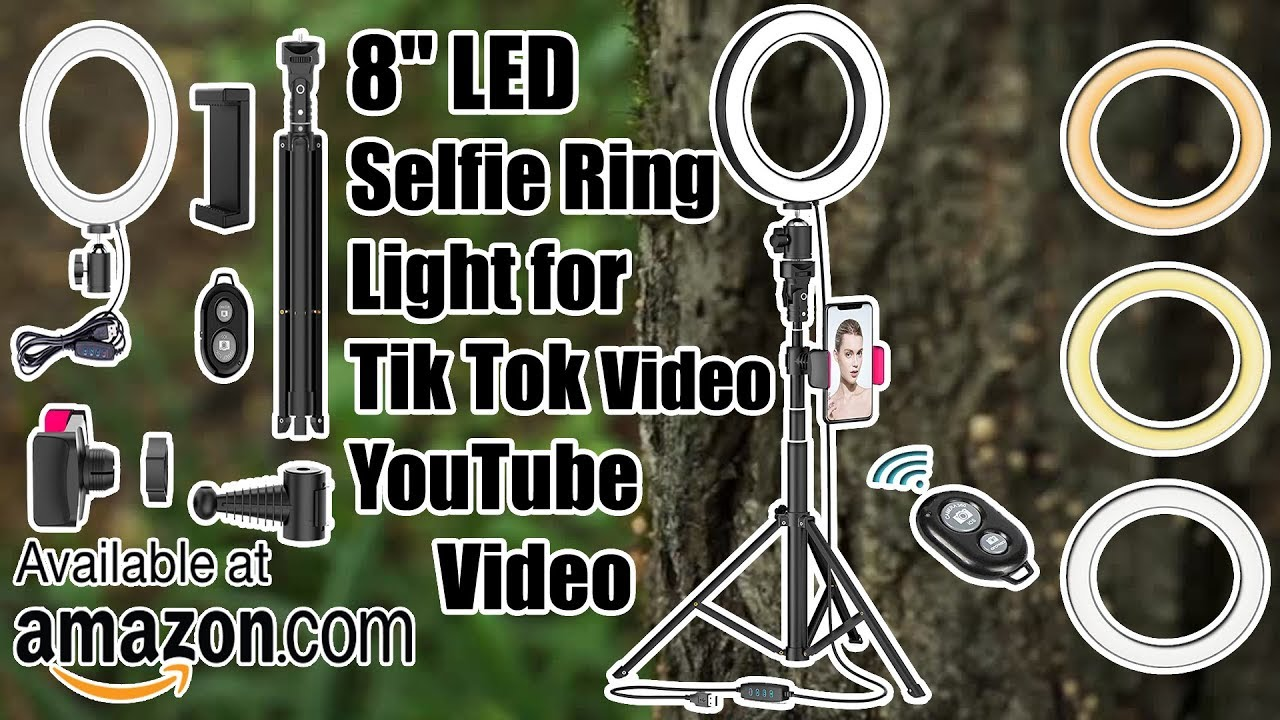 SYOSIN LED Ring Light with Extendable Tripod Stand,8LED Selfie Ring Light/& Phone Holder with 3 Color Modes and 10 Brightness for Tiktok,Youtube Video,Makeup,Photography,Live Streaming