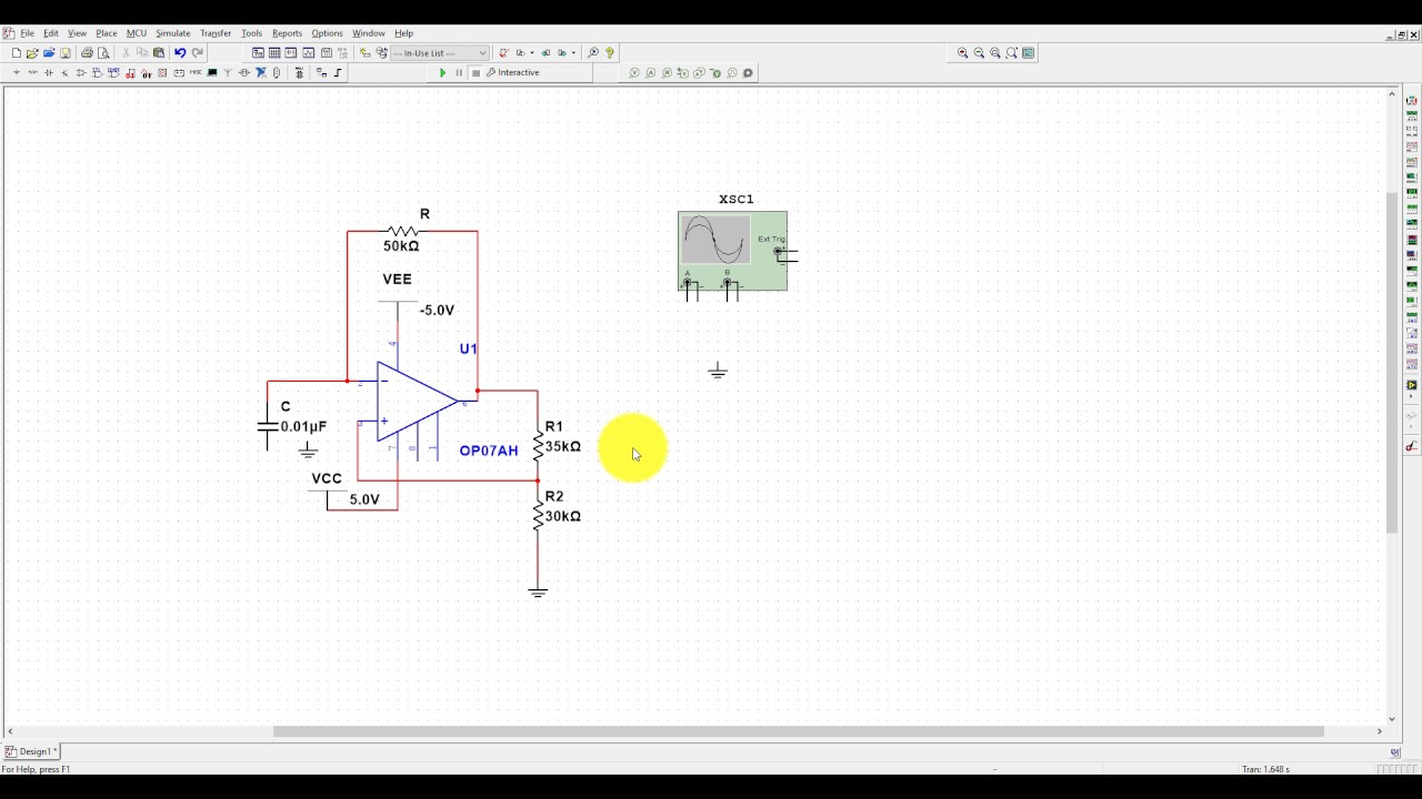 multivibrator designing and simulation in multisim using opamp