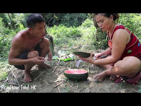 Primitive life: Catch lots fish to cooking fish with watermelon  eating delicious