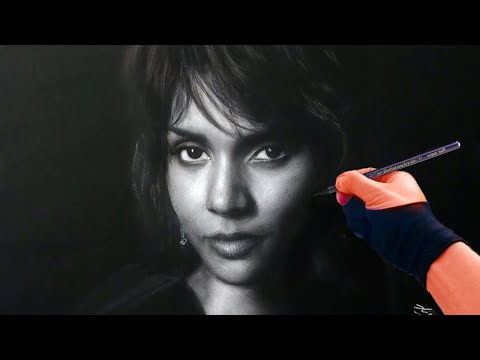 Drawing halle berry on black paper from live stream art drawing video