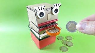 How To Make a Robot Coin Bank From Cardboard. Diy Piggy FaceBank Box