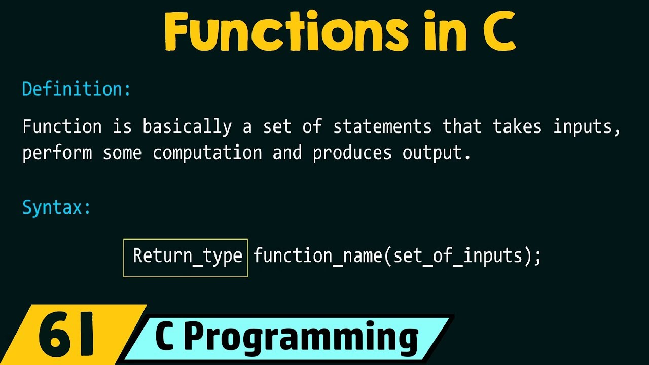 Introduction to Functions in C
