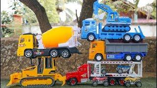 Construction Vehicles Toy Unboxing   Excavator , Wheel loader , Dump truck, Cement truck