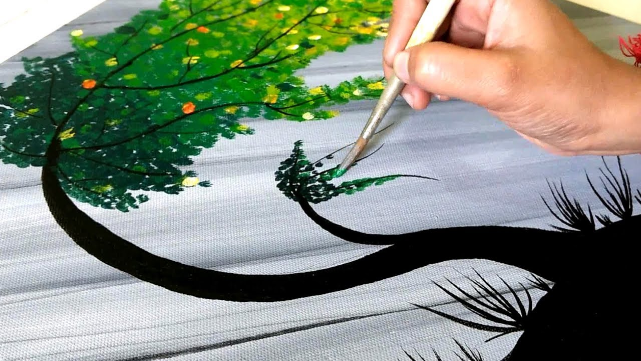 Crafts Art How To Paint A Tree In Acrylic Colour Easy Tree Painting Toy Art Wall Painting