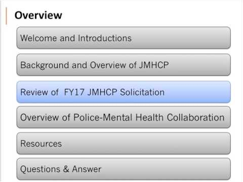 Webinar for Law Enforcement Agencies: Applying for the JMHCP Grant Program