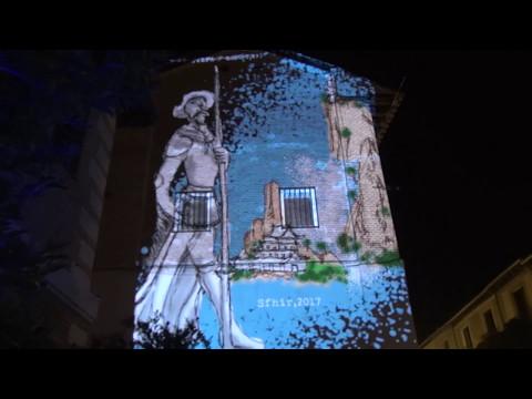 Graffiti Laser IV centenario de la muerte de Miguel de Cervantes