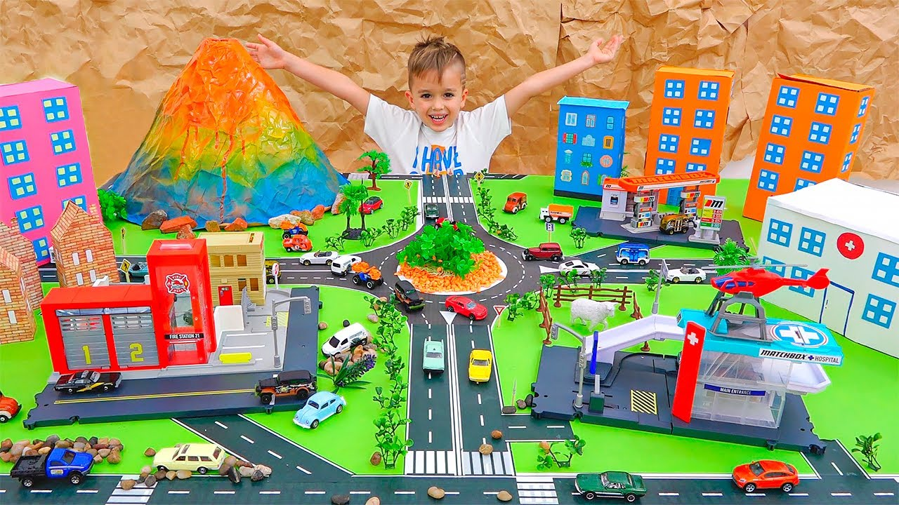 Vlad và Niki chơi với Ô tô đồ chơi và xây dựng Thành phố Matchbox