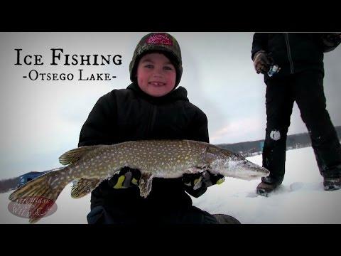 Ice fishing otsego lake 2015 youtube for Ice fishing videos on youtube