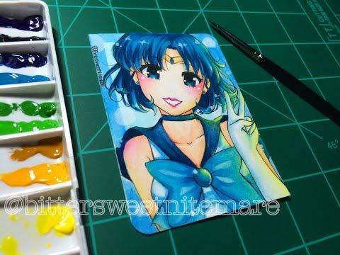 Watercolor Speedpaint: Sailor Mercury ATC Commission