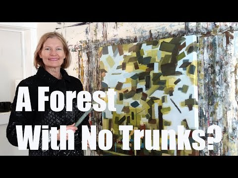 Abstract landscape forest painting by Holly Van Hart – P