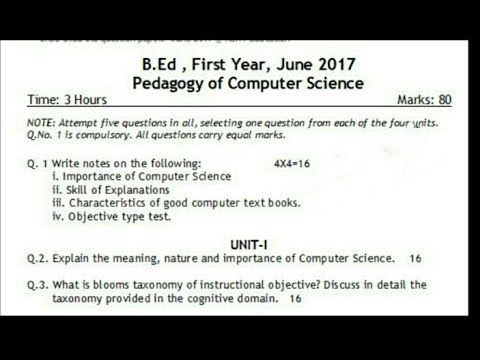 Pedagogy of computer science B Ed 1st year question paper (2017) English  medium// Naveen Dahiya
