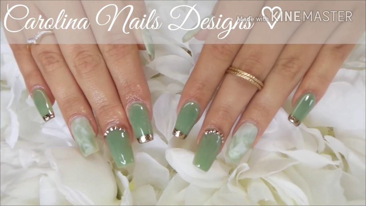 Jade acrylic nails, Marble nails.