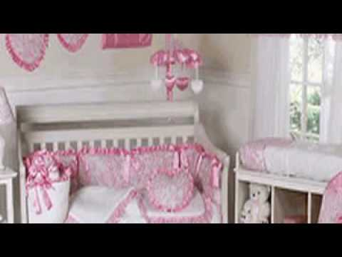 Pink Princess Satin And Lace Girls Baby Crib Bedding Set
