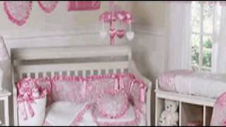 Pink Princess Satin And Lace Girls Baby Crib Bedding Set By