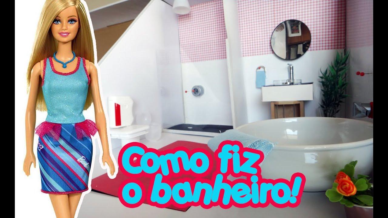 Casa da Barbie Como fazer um Banheiro completo!   #09AAC2 1280x780 Banheiro Da Barbie De Papelão