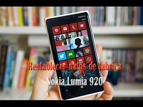 Restablecer datos de fabrica Nokia Lumia 920, 925, 930