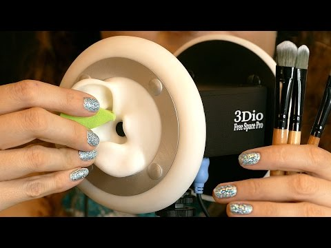Close Up ASMR Ear Cleaning 3D with Ear Massage Brushing, Sticky Tape, Makeup Brushes, Tapping