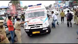 Ambulance met with an accident at Trivandrum, Kerala.