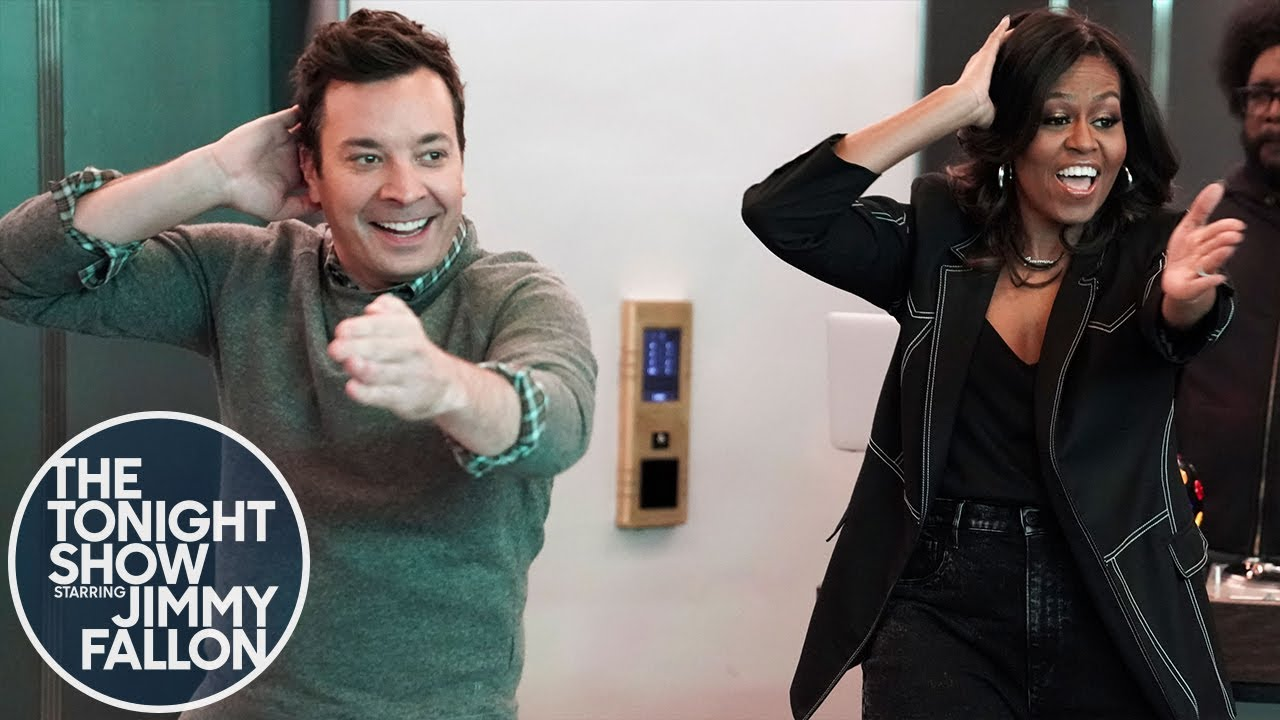 Michelle Obama and Jimmy Fallon Surprise People Riding Elevators at NBC Studios