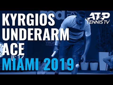 Nick Kyrgios underarm serve and ace v Dusan Lajovic   Miami Open 2019