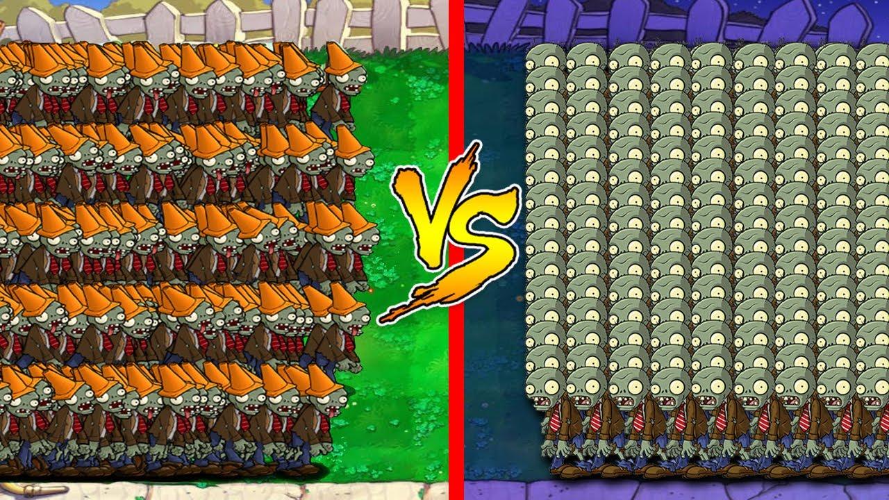 999 Zombie Day vs 999 Conehead Zombie Night | Plants vs Zombies