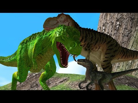 Mother Dinosaurs Save Baby Dino From Big Dinosaur 3D Wild Animals Cartoon Animation Short Movie