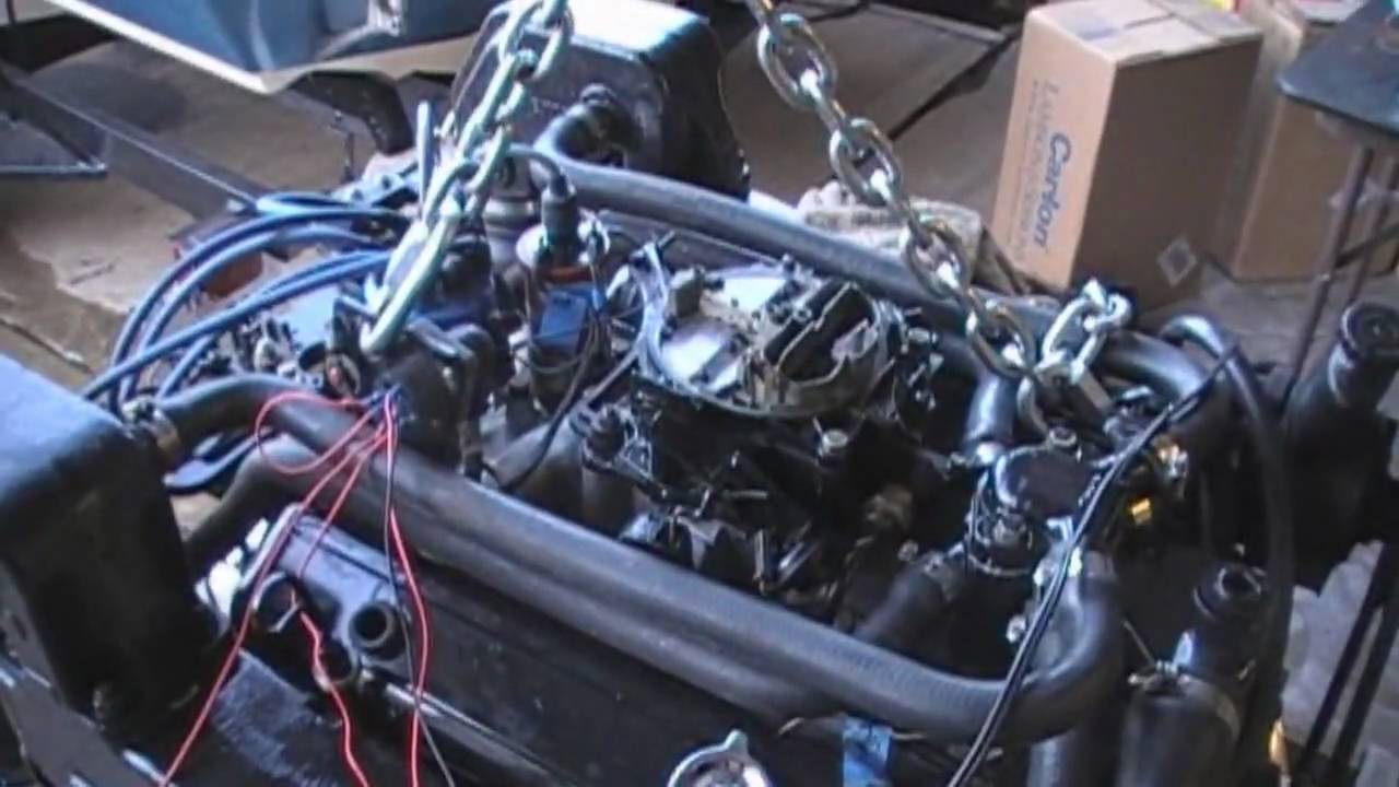 5.7 Mercruiser Chevy 350 Engine running for the first time - YouTube