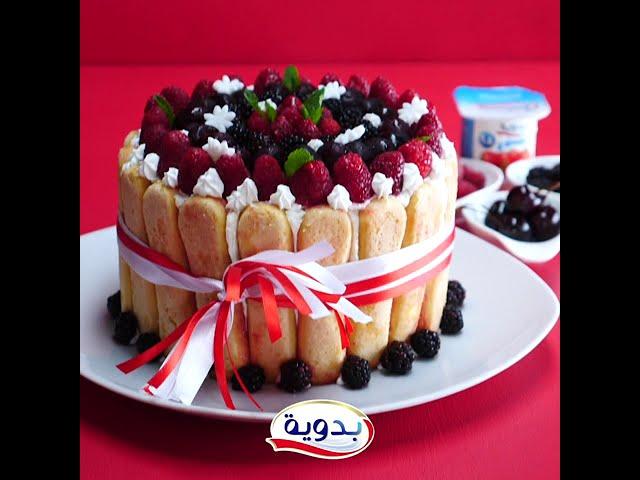 كعكة شارلوت بالفواكه الحمراء