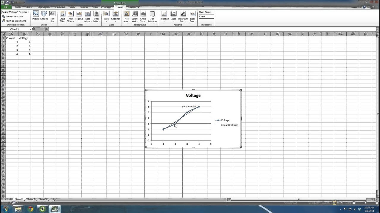 how to use excel plot  line fitting  and snipping tool