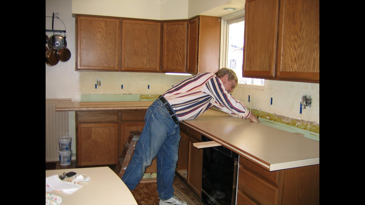 How To Remove Kitchen Cabinet Diy Kitchen Countertop Remodel Youtube