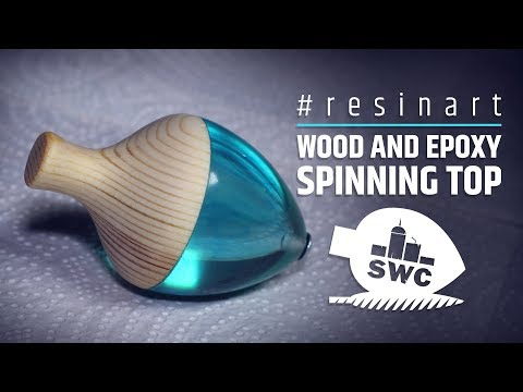 Wood and transparent epoxy resin, spinning top
