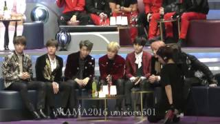 [hd fancam] bts full reaction to their artist of the year award @ mama 2016 daesang 161202