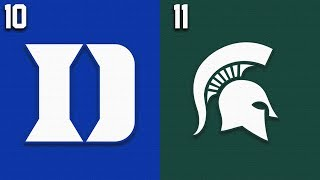 2019 College Basketball #10 Duke vs #11 Michigan State Highlights