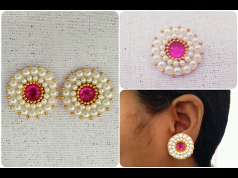beautiful ethnic earrings floral and dropping diamond