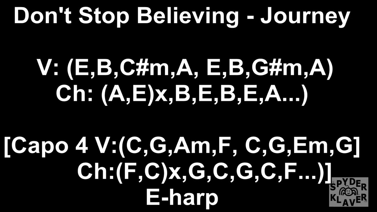 Dont Stop Believing Journey Lyrics Chords Youtube
