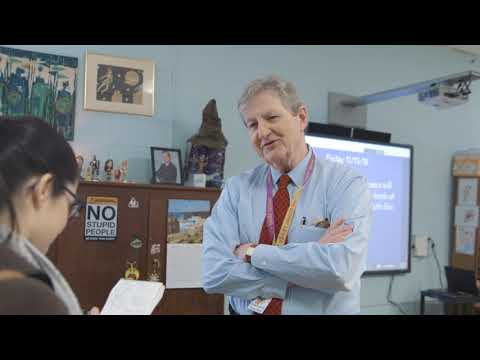 Sen. Kennedy Substitute Teaching at Paul Breaux Middle School