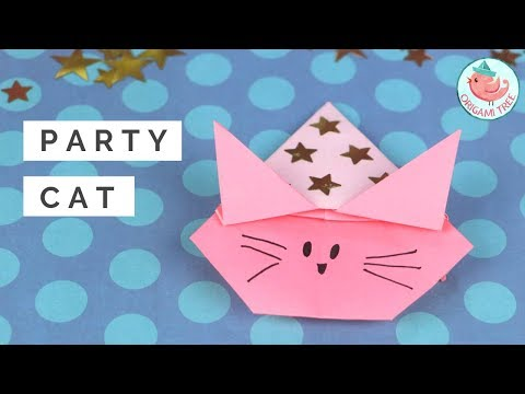 Origami Cat Tutorial Step by Step! Origami Cat with a Party Hat