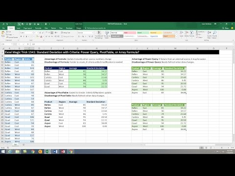 Excel Magic Trick 1341: Standard Deviation With Criteria: Power Query, PivotTable, Or Array Formula?