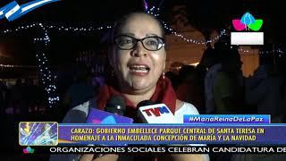 Buen Gobierno embellece parque central de Santa Teresa en homenaje a la Virgen María
