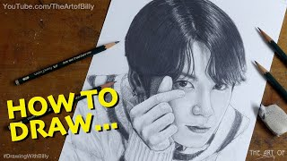 How To Draw Jungkook From BTS For Beginners (KPOP Star Jeon Jungkook fan art)