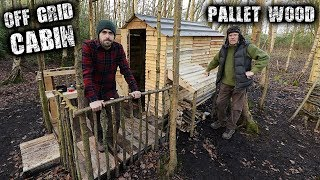 Off Grid Cabin in the Forest using Recycled Pallet Wood - Woodstove Cooking & Log Store