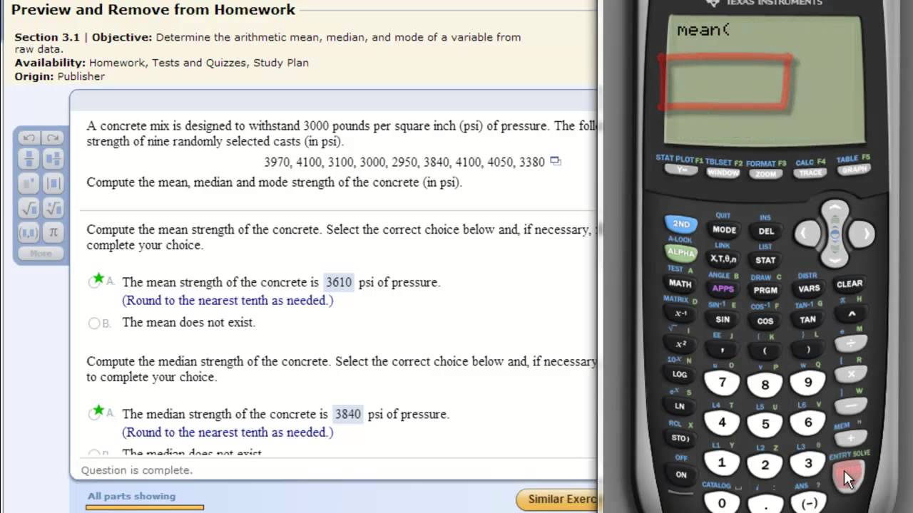 Ti 8384 calculator mean median mode youtube ccuart Gallery