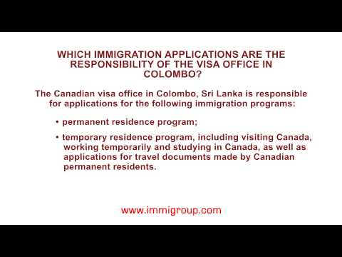 Which immigration applications are the responsibility of the visa office in Colombo?