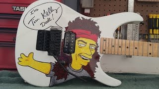Upgrading the bridge on the Tim Kelly (Slaughter) Simpsons Robin guitar!