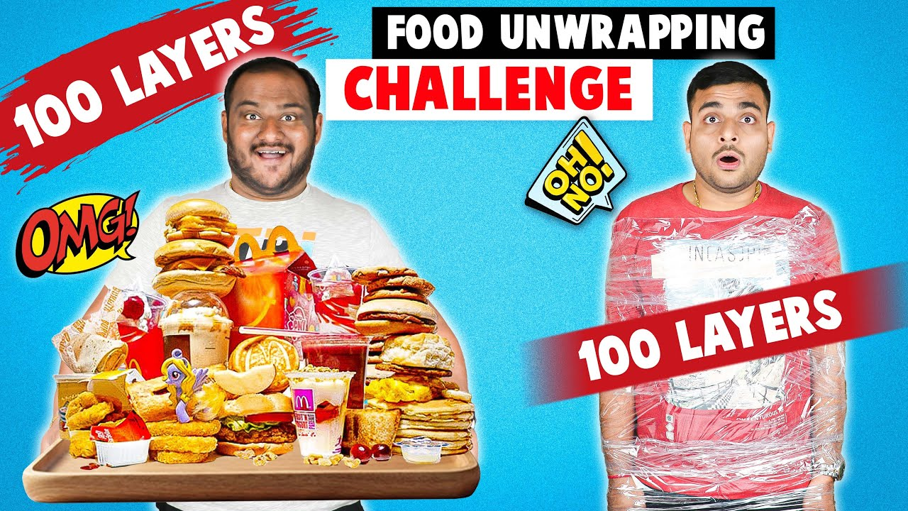 100 LAYERS FOOD UNWRAPPING CHALLENGE | Food Eating Challenge | Eating Competition | Viwa Food World