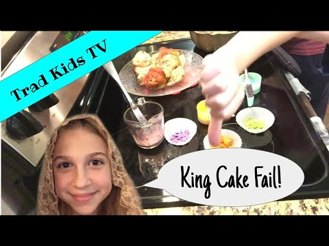 "King Cake Fail! 🤪😱 Watch Trad Kids TV mom try an ""easy"" DIY king cake recipe for Mardi Gras/Epiphany"